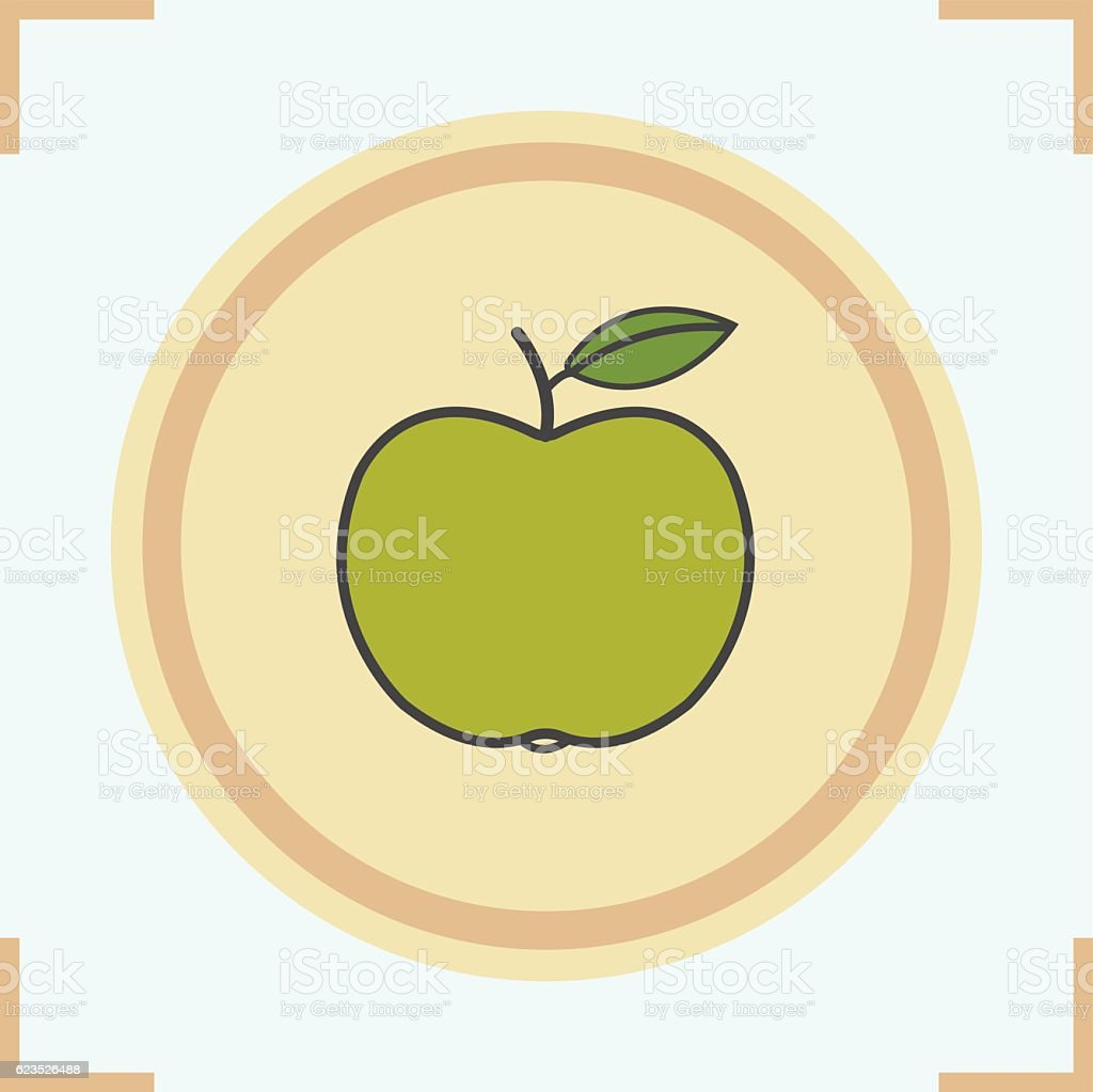 Green apple icon vector art illustration