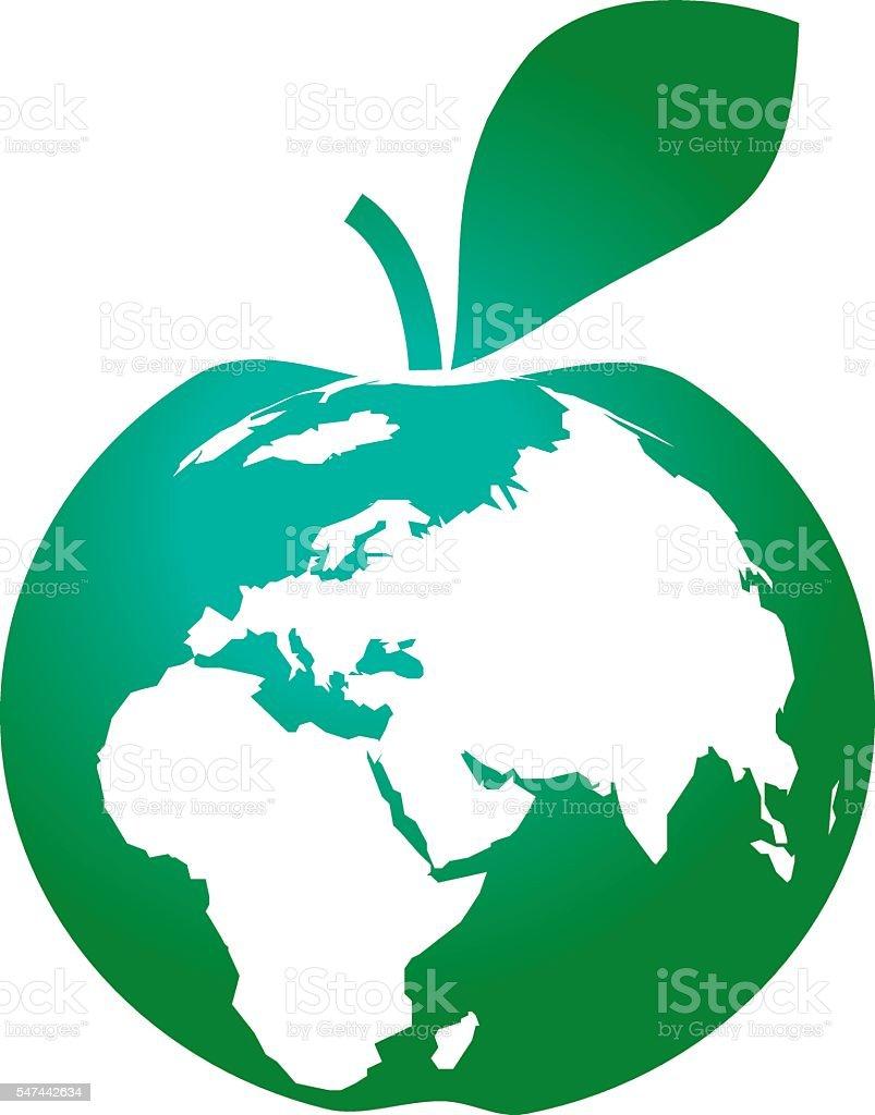 Green apple in earth shape icon globe symbol as apple stock vector green apple in earth shape icon globe symbol as apple royalty free green apple buycottarizona