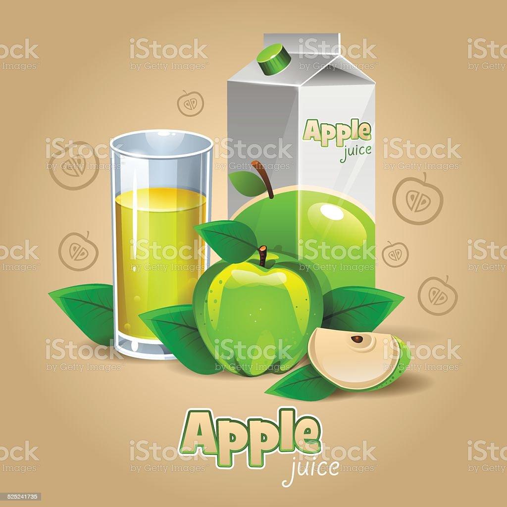 Grünen Apfelsaft – Vektorgrafik