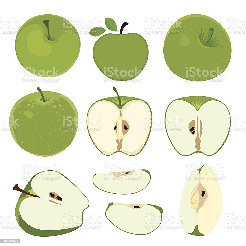 green apple set royalty-free stock vector art