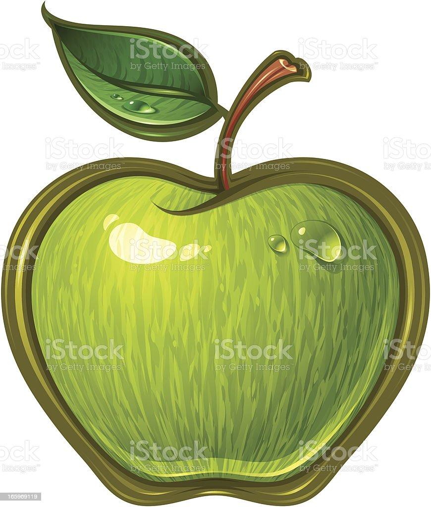 Green Apple vector art illustration
