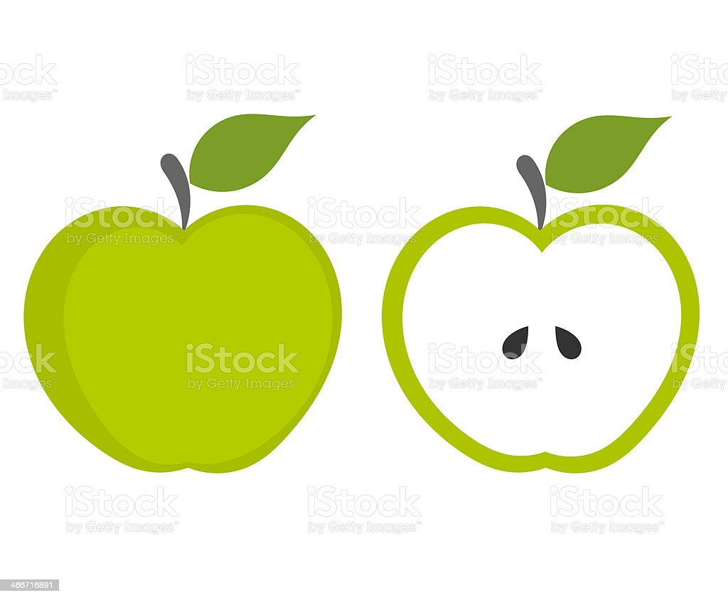 Grüner Apfel – Vektorgrafik
