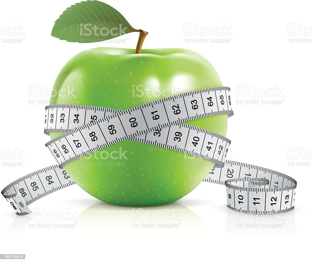 Green apple with measuring tape royalty-free stock vector art