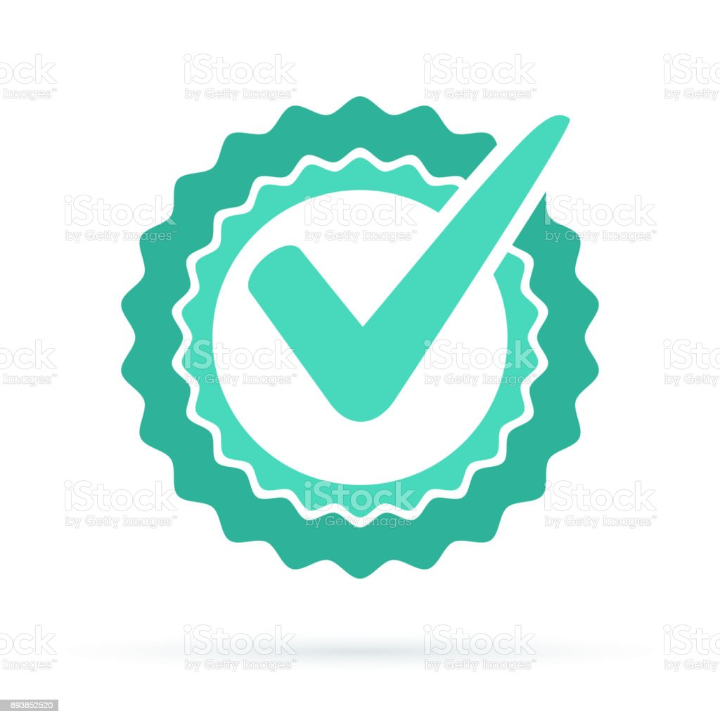 Green approved star sticker vector illustration isolated on white background vector art illustration