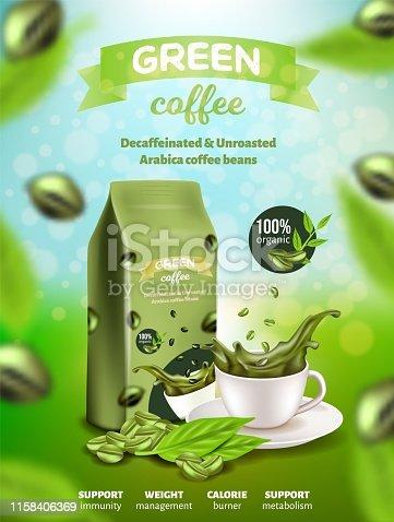 istock Green Arabica Coffee Banner, Decaffeinated Beans 1158406369
