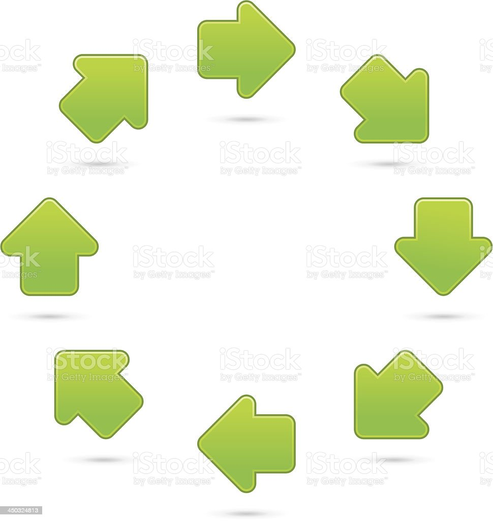 Green satin arrow icon in circle with gray hadow on white background.