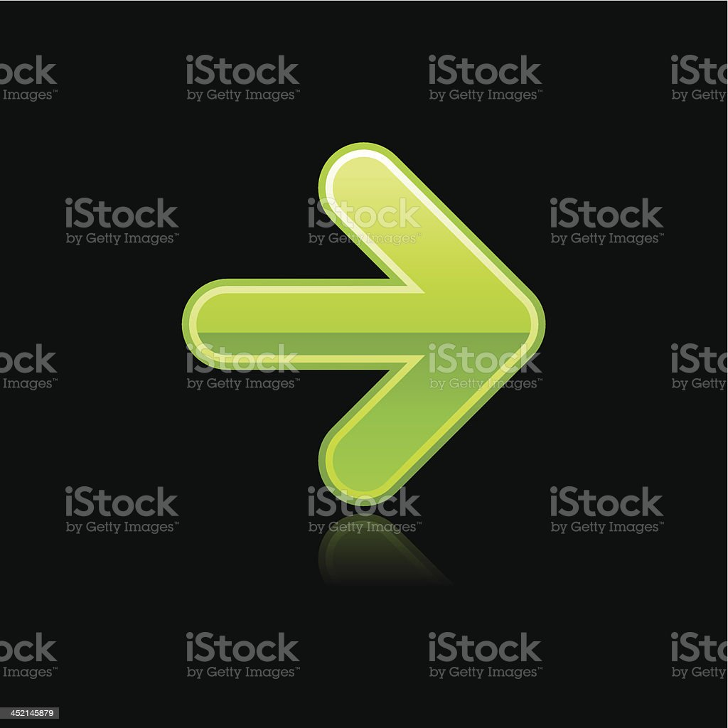 Green arrow sign glossy icon chrome pictogram web internet button royalty-free stock vector art