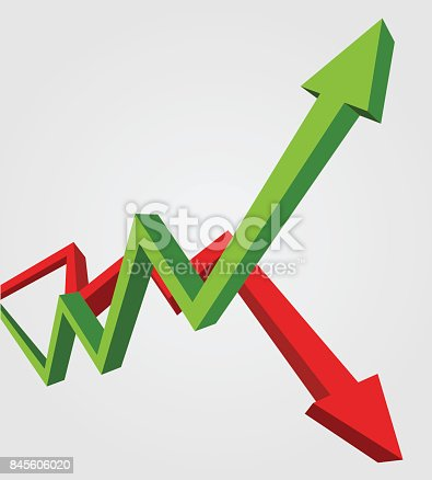 Green arrow up and red arrow down. Stock exchange concept show about profit and loss trading of trader, 3d style illustration.