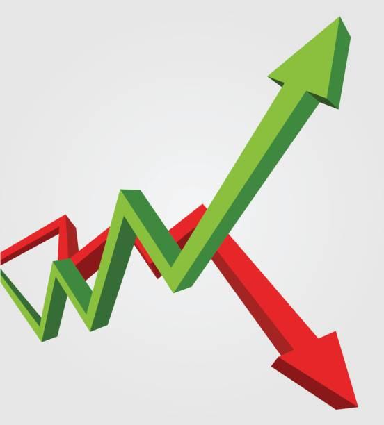 綠色向上箭號和向下的紅色箭頭。股票交易所概念表明關於利潤和虧損交易的交易員,3d 樣式插圖。 - 賺錢 幅插畫檔、美工圖案、卡通及圖標