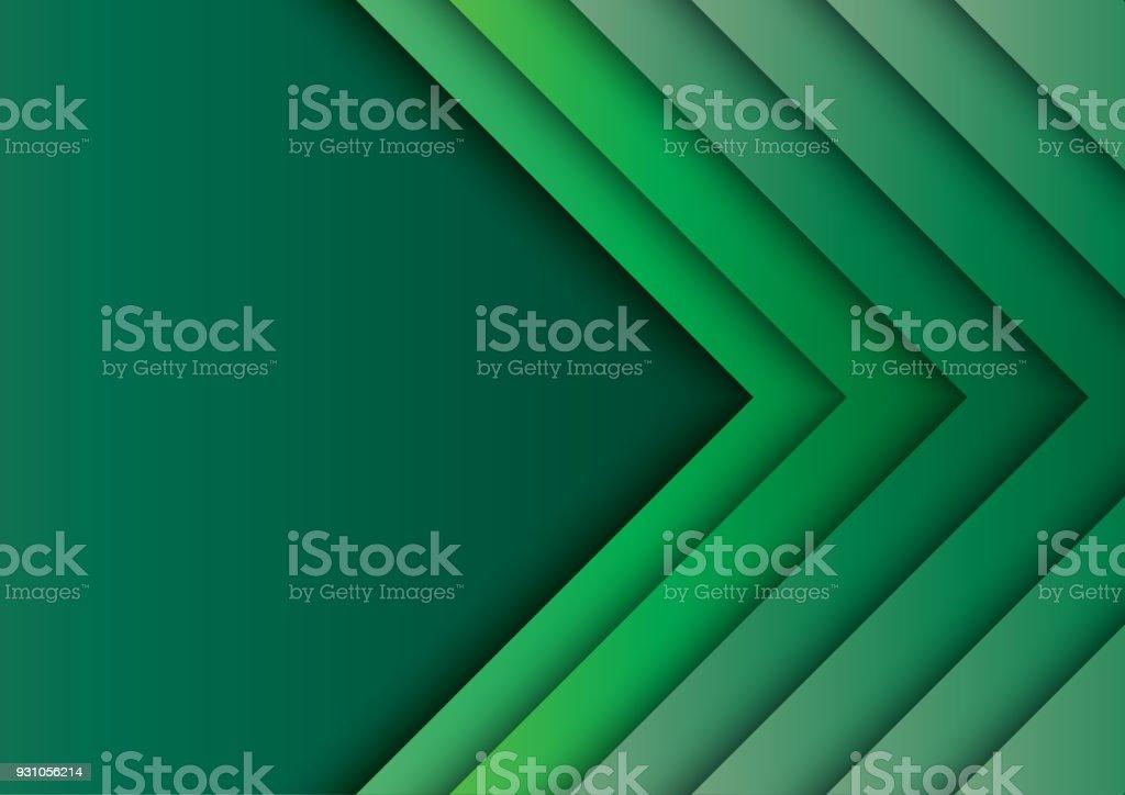 Setas verdes abstraem base com estilo de arte de papel - ilustração de arte em vetor