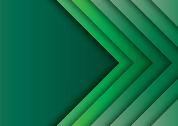 green arrows abstract background with paper art style - ochrona stock illustrations