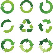 green arrows and recycling symbol set