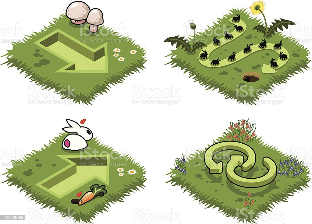 Green arrows on grass with flowers, mushrooms and bunny (vector) vector art illustration