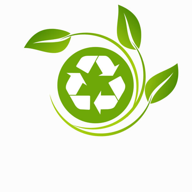 Green arrows recycle eco symbol vector illustration isolated on white background. vector art illustration