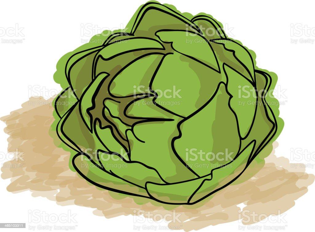 Green Artichoke vector art illustration