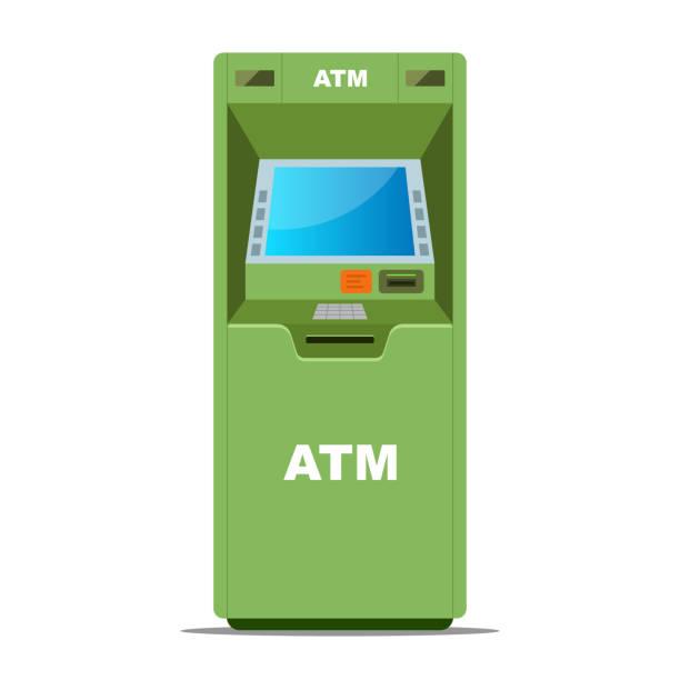 grüner geldautomat für geldabhebungen auf weißem hintergrund - geldautomat stock-grafiken, -clipart, -cartoons und -symbole