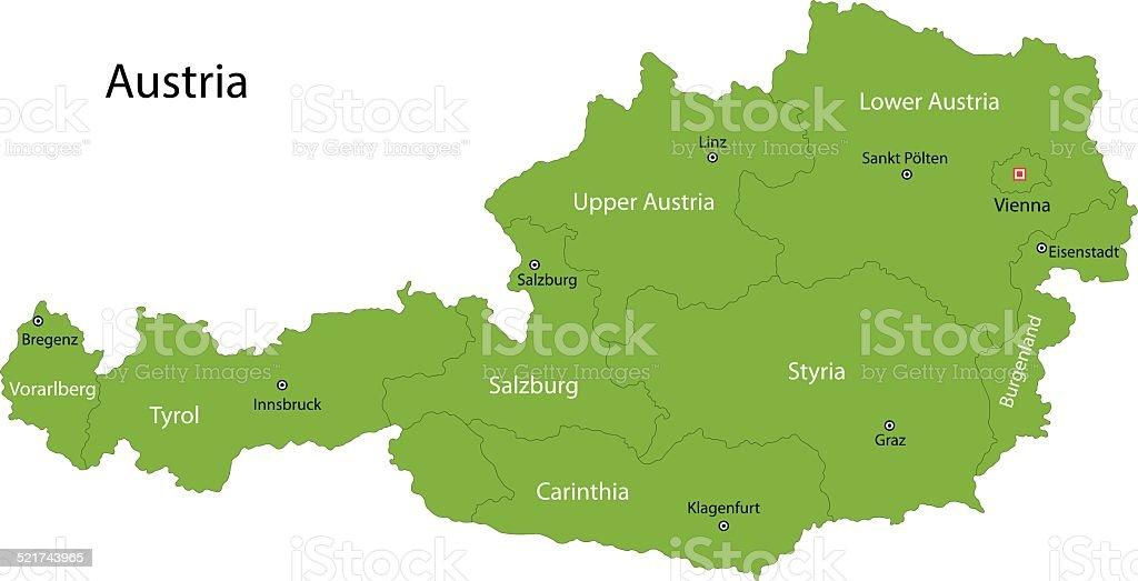 Green Austria map vector art illustration