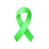 Green Awareness ribbon for Organ Transplant and Donation Awareness, Scoliosis, Mental health symbol.