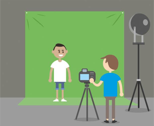 stockillustraties, clipart, cartoons en iconen met groene achtergrond en acteur - green screen