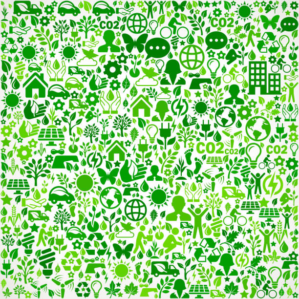 Green Background Environmental Conservation and Nature interface icon Pattern vector art illustration