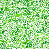 Green Background On Green Environmental Conservation and Nature royalty free vector interface icon pattern. This royalty free vector art features nature and environment icon set pattern. The major color is green and icons include trees, leaves, energy, light bulb, preservation, solar power and sun. Icon download includes vector art and jpg file.