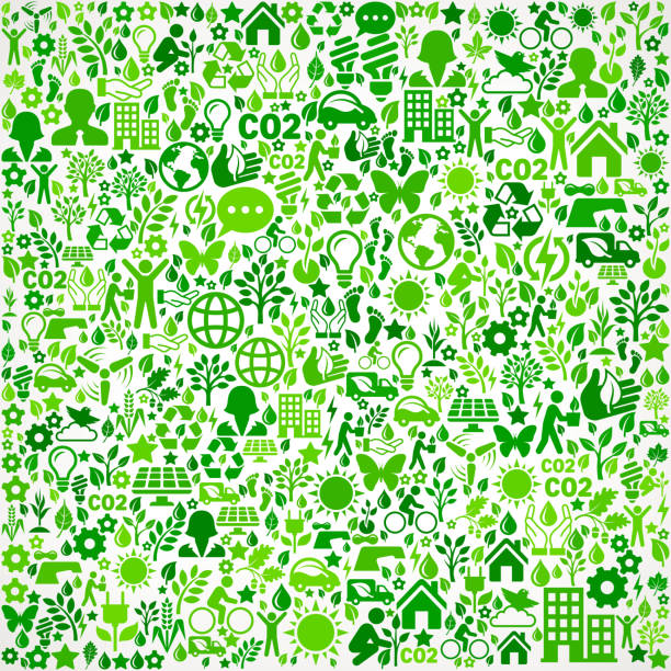 Green Background Environmental Conservation and Nature interface icon Pattern Green Background On Green Environmental Conservation and Nature royalty free vector interface icon pattern. This royalty free vector art features nature and environment icon set pattern. The major color is green and icons include trees, leaves, energy, light bulb, preservation, solar power and sun. Icon download includes vector art and jpg file. pattern stock illustrations