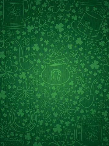 Green  background for Patricks day with ber mug, hat, horseshoe