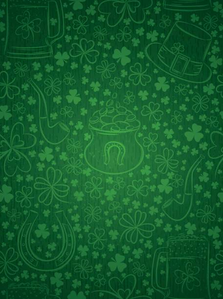 Green  background for Patricks day with ber mug, hat, horseshoe vector art illustration