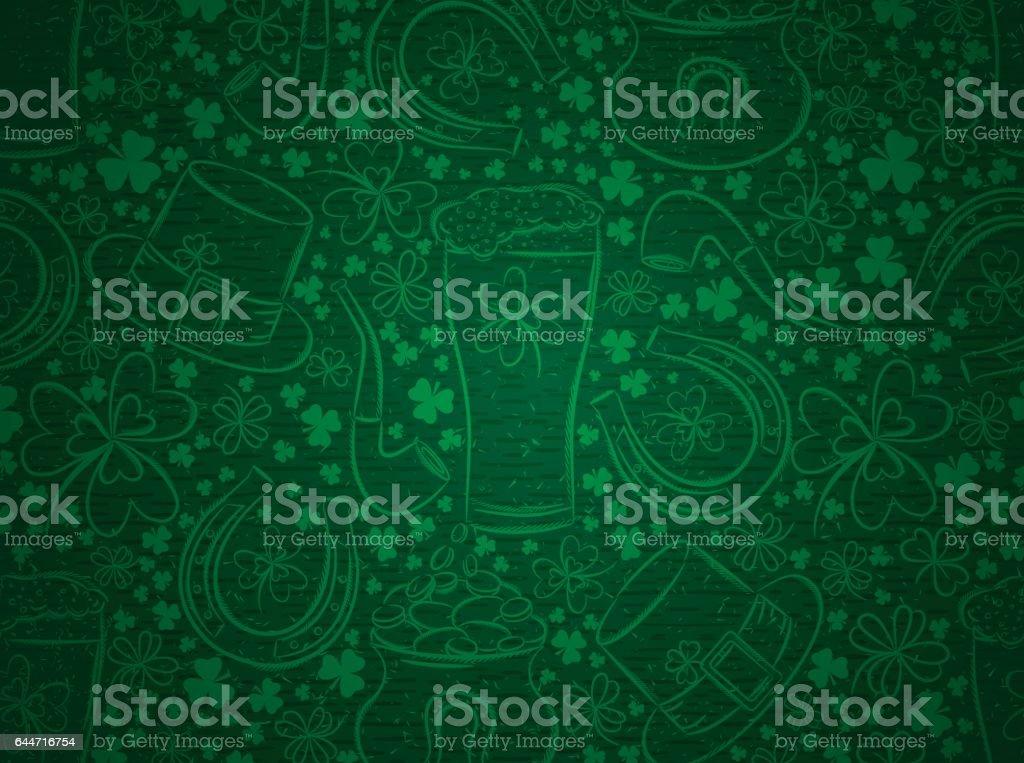 Green  background for Patricks day with ber mug, horseshoe, shamrocks