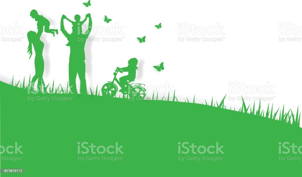 Green background happy family having fun playing in the field,paper art,vector vector art illustration