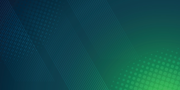Green and blue background in vector illustration with glow and movement, with parallel lines, bright geometric shape.