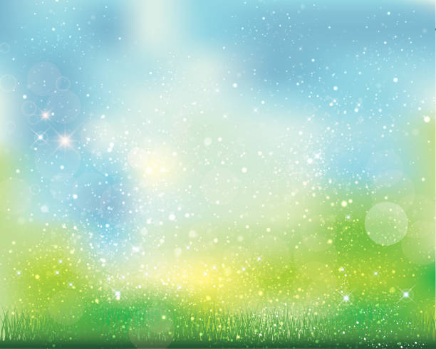green background of sparkles abstract, shading, nature springtime stock illustrations