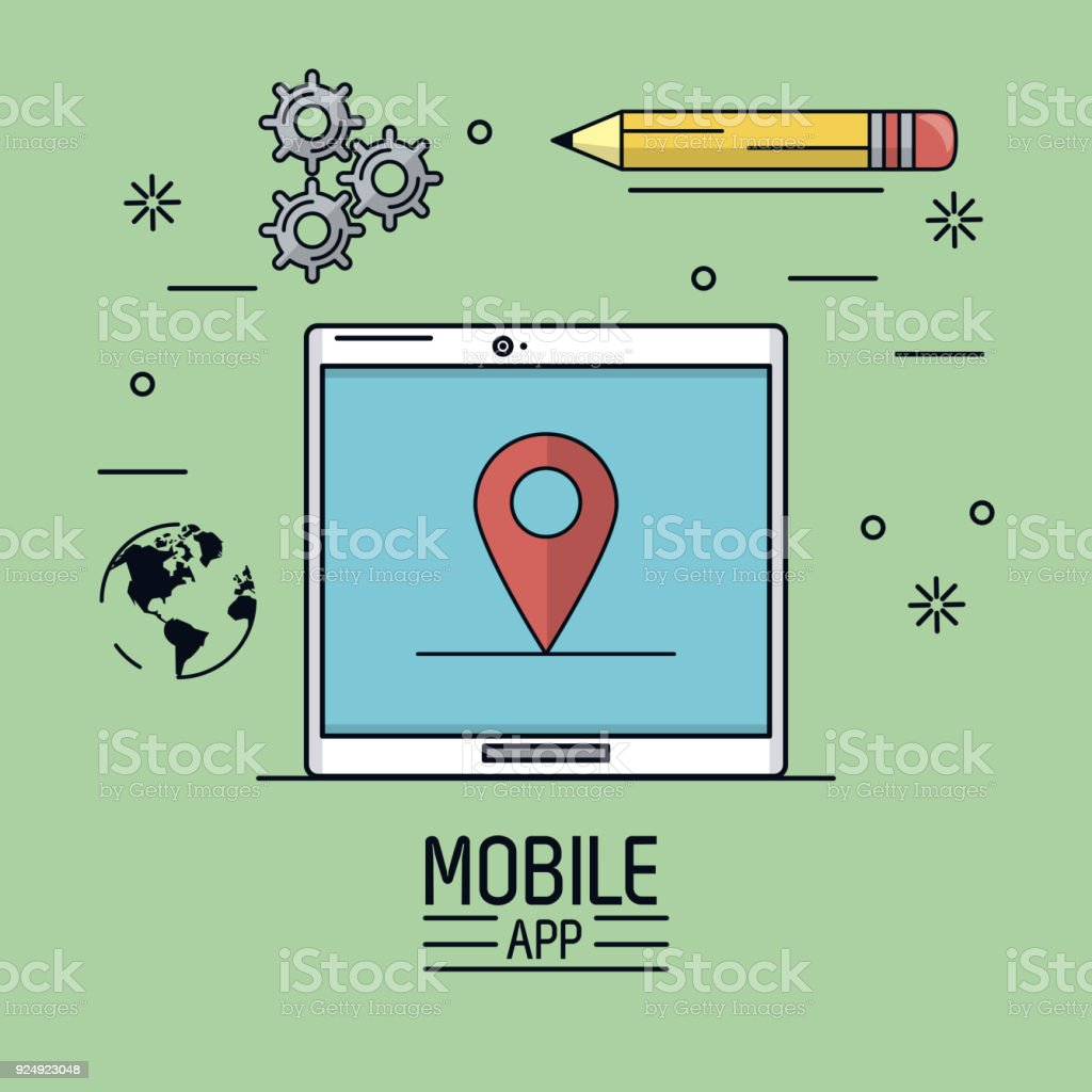 Green background poster of mobile app with tablet device with map green background poster of mobile app with tablet device with map pointer in screen and icon gumiabroncs Gallery