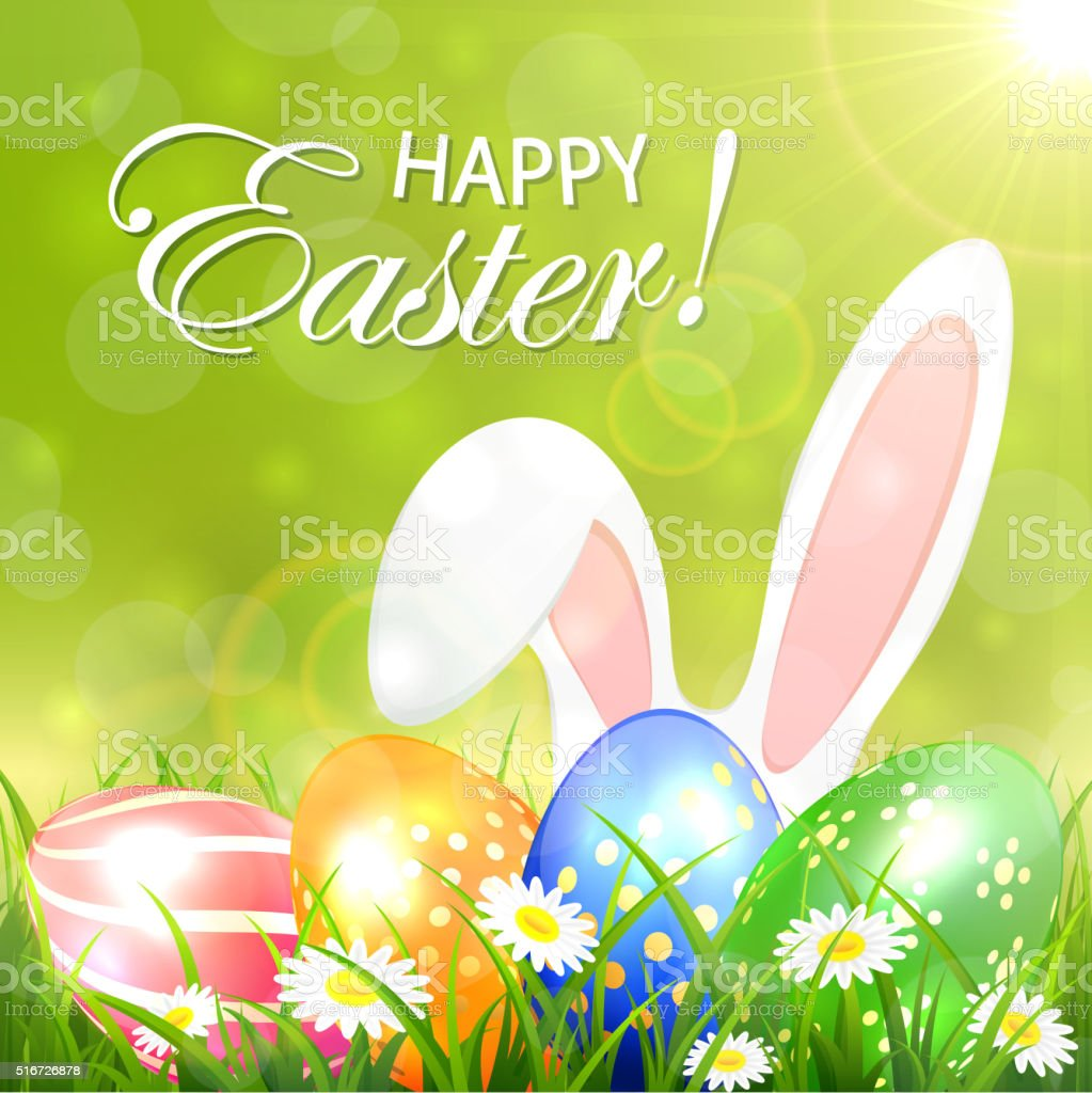 green background with colored easter eggs and rabbit stock vector