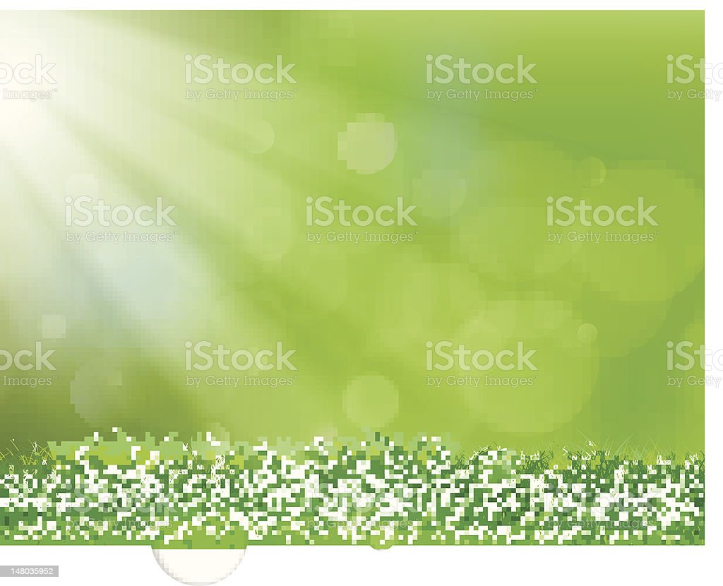 Green background with grass and rays of sunshine vector art illustration