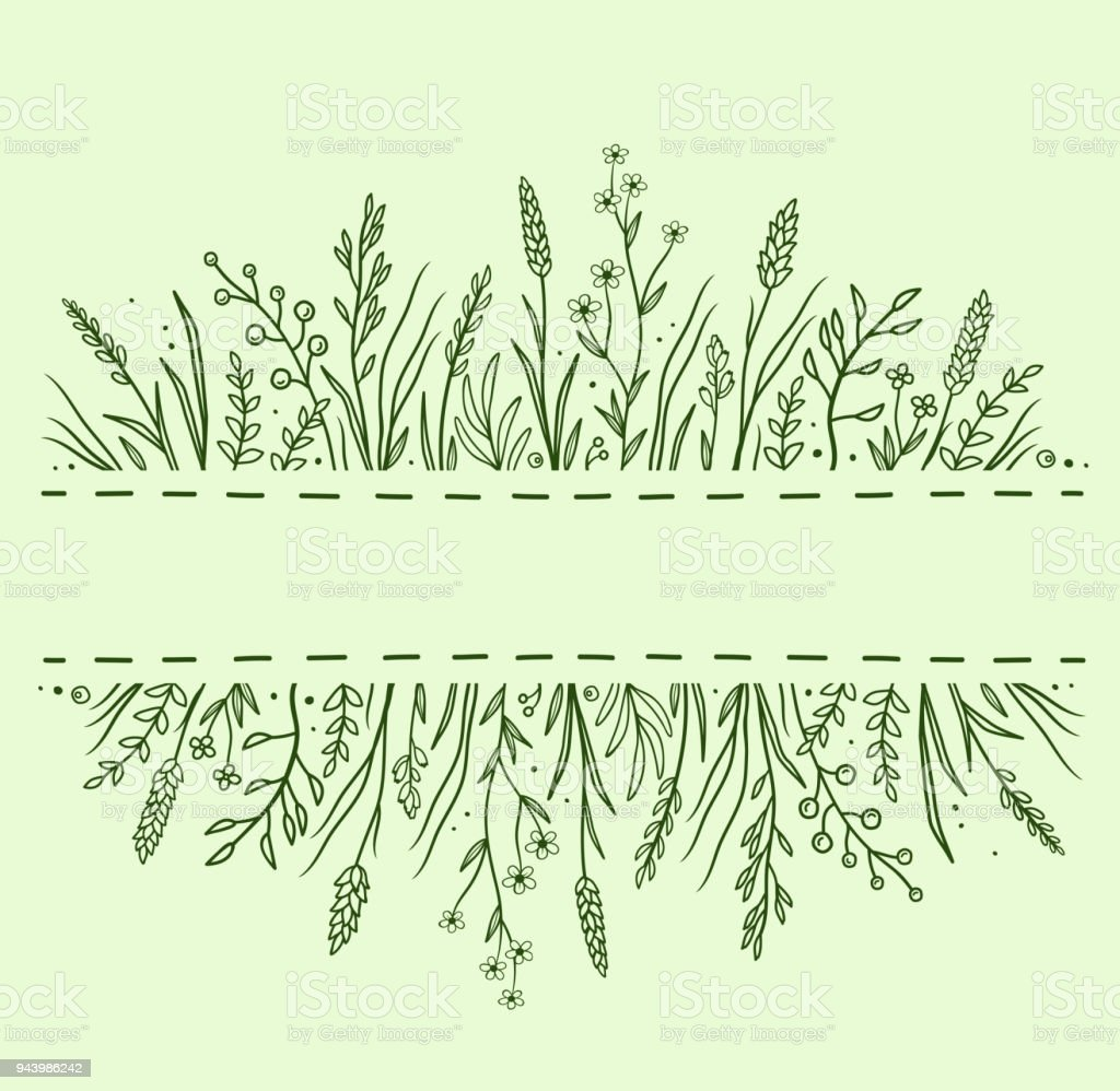 green background with herbs and flowers vector art illustration