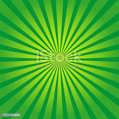 Green background with yellow rays. Sun burst and starburst. Retro texture with light sunburst. Abstract pattern with sunlight. Art with green and yellow stripes. Organic color. Comic poster. Vector.