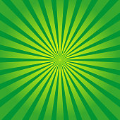 istock Green background with yellow rays. Sun burst and starburst. Retro texture with light sunburst. Abstract pattern with sunlight. Art with green and yellow stripes. Organic color. Comic poster. Vector 1224154934