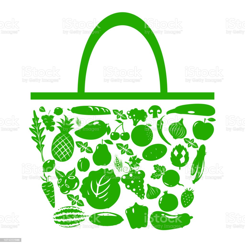 Green Bag with fruits and vegetables vector art illustration