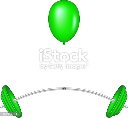 Green balloon lifting a heavy barbell on white background