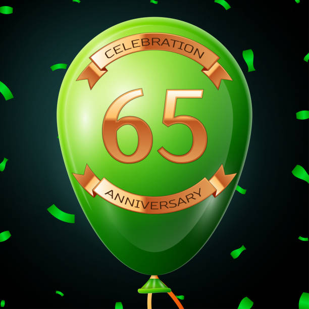 Green balloon with golden inscription sixty five years anniversary celebration and golden ribbons, confetti on black background. Vector illustration vector art illustration