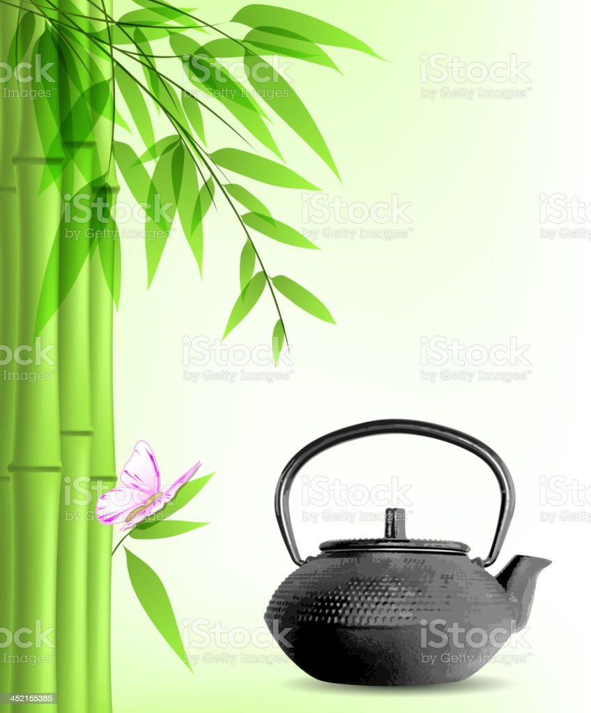 Green bamboo and tea royalty-free stock vector art