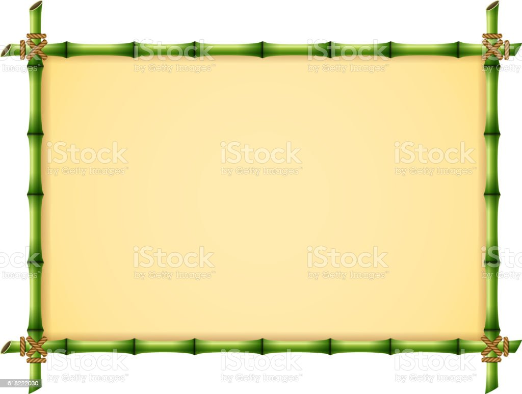 Green Bamboo Frame vector art illustration