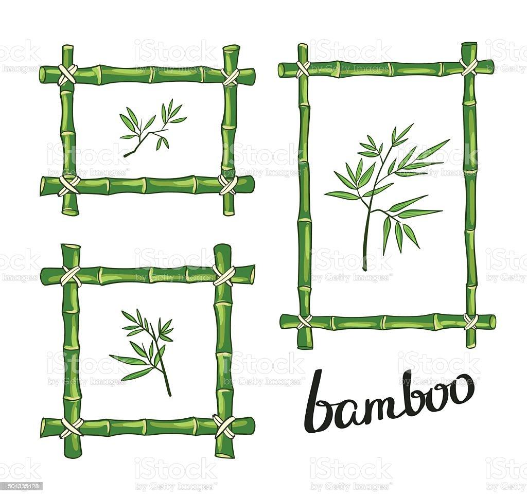 Grüne Bambusrahmen Vektorillustration Vektor Illustration 504335428 ...