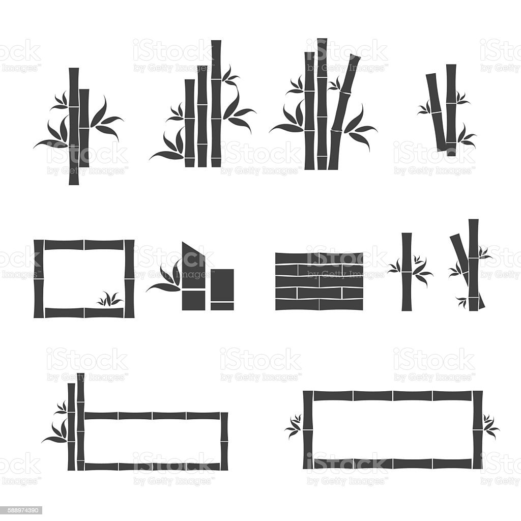 Green bamboo icons. vector art illustration