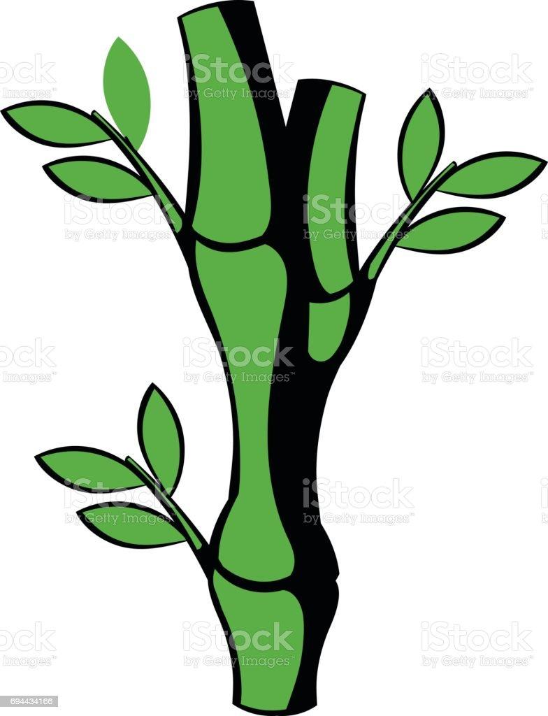 Gruner Bambusstammsymbol Symbol Cartoon Stock Vektor Art Und Mehr
