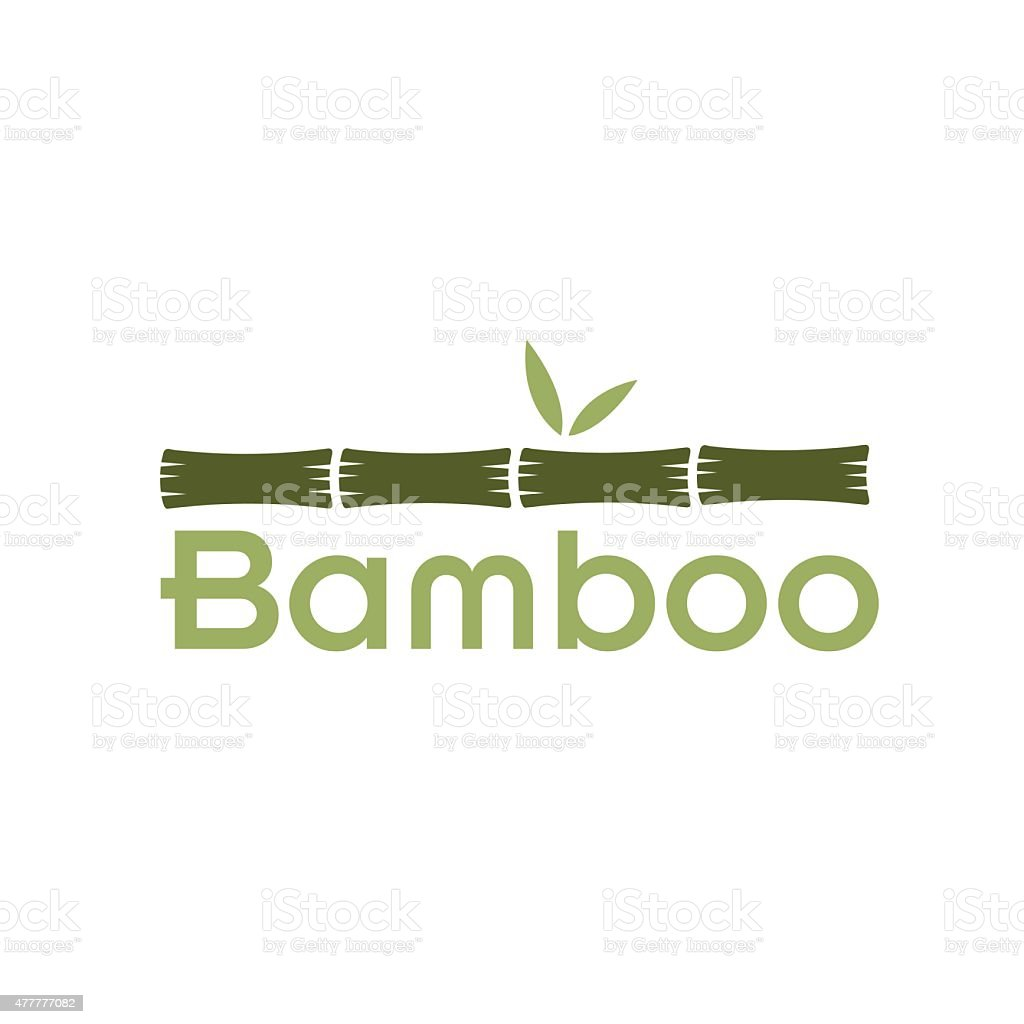 green bamboo stems and leaves vector art illustration