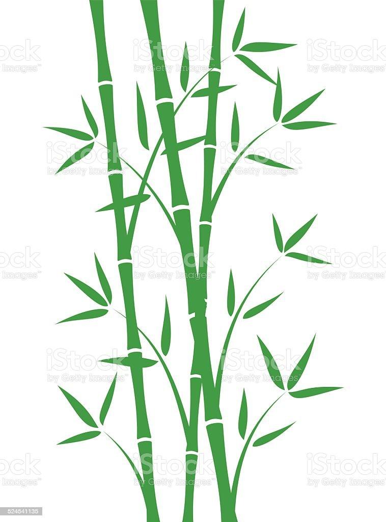 Green bamboo stems vector art illustration