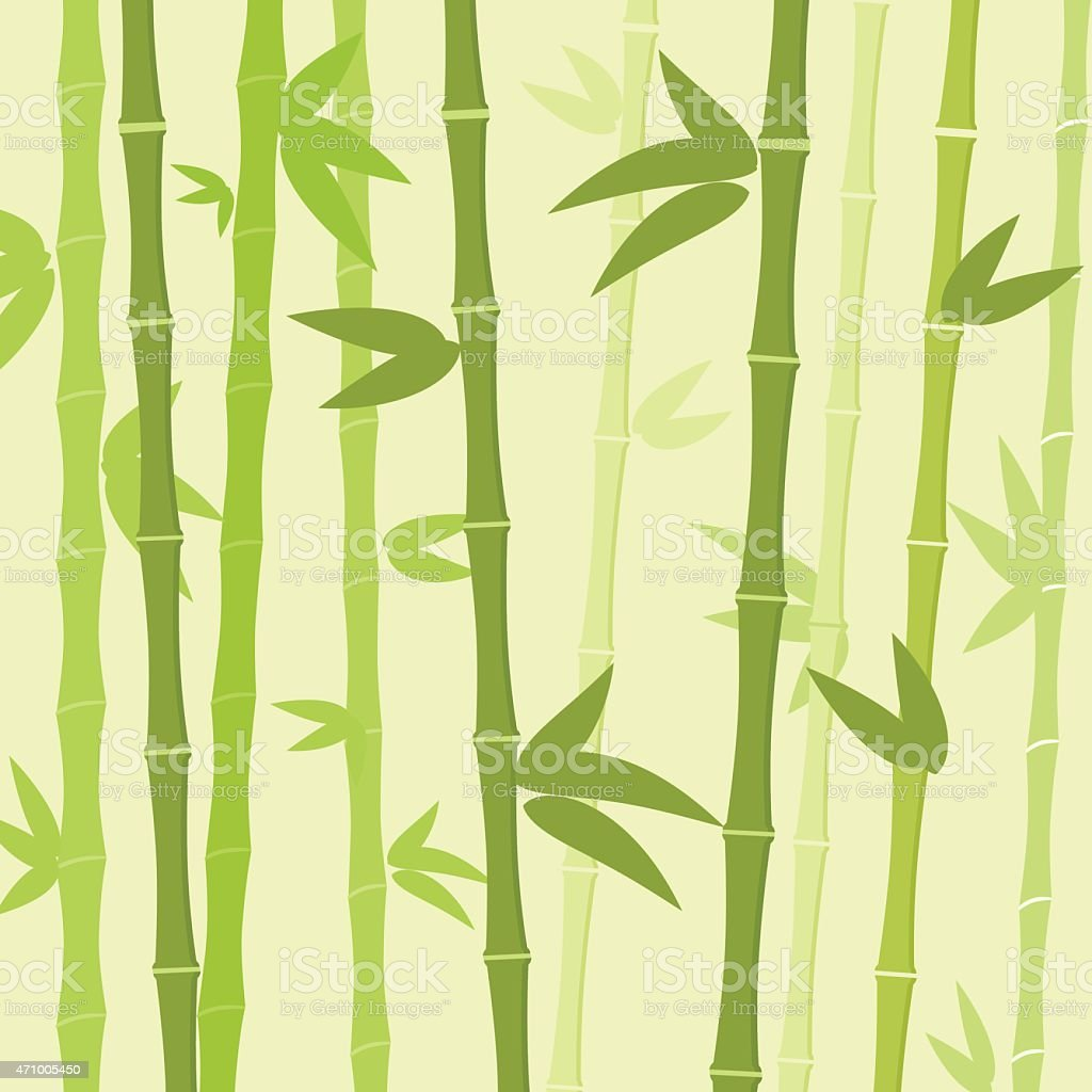 Green Bamboo Tree Leaves Background Flat Vector vector art illustration