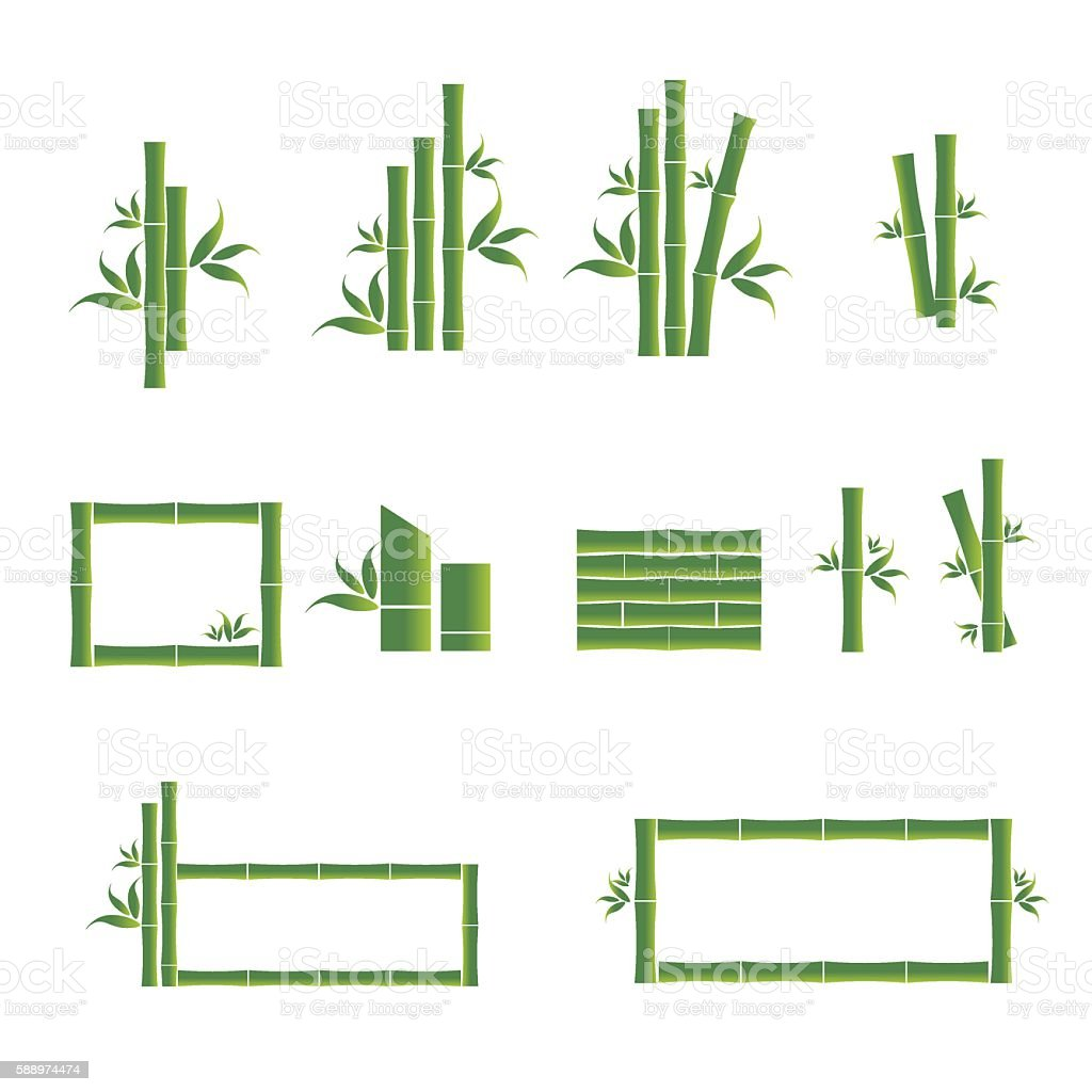 Green bamboo vector symbol icons set vector art illustration